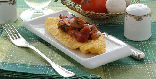 Omelette funghi e bacon