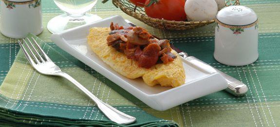 Omelette funghi e bacon - Antipasti Trentino